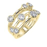 18k Yellow Gold F/vs 2.00 Ct Natural Round Diamond Bubble Ring For Women