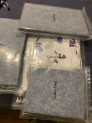 Calvin Klein Watercolor Peonies King Duvet Cover,flat,fitted+2standard Shams.