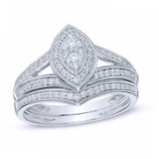 3/8 Ct Natural Diamond Marquise Vintage Style Bridal Set In Sterling Silver
