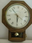 Sessions-united Electric Wall Clock With Pendulum Mid-century Schoolhouse Design