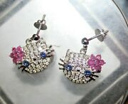 Hello Kitty 1.42 Ct Natural Round Diamond Ruby Sapphire 14k Rose Gold Earrings