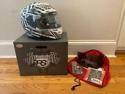Bell Rs-1 Motorcycle Helmet, Shattered Graphic, Size Small W/ Dark Smoke Shield