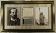Auguste Bartholdi French Sculptor Statue Liberty Signed Display Jsa Authenticate
