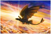 Hiccup And Toothless Dragon Clouds Columns Of Light Sunset Fine Art Giclandeacutee Canvas