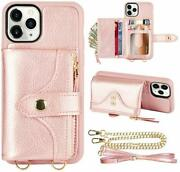 Iphone 11 Pro Max Wallet Case Shockproof Crossbody Leather Card Slots Rose Gold