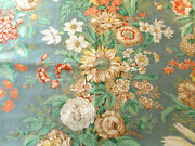 Vintage French Or English Floral Polished Cotton Fabric Melon Yellow Aqua Blue