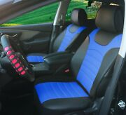 Pu Leather Car Seat Cushion Covers 2 Front Black Blue - Universal 80207