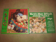 World's Most Difficult Jigsaw Puzzle Pigs + Pig In A Blanket Lot Animals Sealed