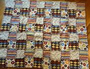 Brown Tan Blue And Rust Cotton Fabric Rag Quilt -throw 36 X 46 Blanket