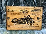Indian Scout Motorcycle Wooden Picture Home Decor Wall Art