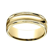10k Yellow Gold 7mm Comfort-fit High Polished With Milgrain Band Ring Sz-13