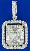 Large .92ct Diamond 18k White Gold Round And Baguette Square Love Floating Pendant