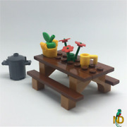 Lego Picnic Table Park Bench Seat W/ Apple Bag Flowers- Minifig Food Accessories