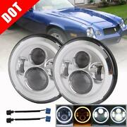 Pair 7 Inch Round Led Headlights Angle Eyes For 1969-1981 Chevrolet Camaro