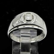 0.30ct Round Real Diamond Menand039s Band Ring 14k White Gold Over Sterling Silver