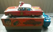 1960's Battery Operated Tin Toy Car Firechief With Light And Siren - Asahi Japan