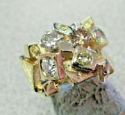 Unique Colored Diamond Ring 1.50 Ctw Fancy Yellow And Brown And White 14k Make Offer
