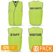 10 X Bn Hi Vis Yellow Lime Security Visitor Staff Safety Vests - Printed