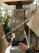 Moroccan Stone Slate Table Lamp Hammered Copper Detail Indoor Out Patio Light