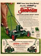 1956 Sunbeam Twin Blade Electric Rotary Mower - Man Mowing Lawn Vintage Ad