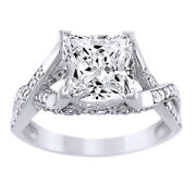 14k Solid Gold 1.75ct Princess Cut Simulated Diamond Solitaire Engagement Ring