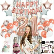21st Party Supplies By Serene Selection Rose Gold Birthday Decorations For Girl