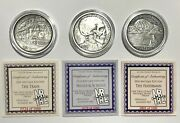 Set Of 3 Hobo Nickels Fisherman Train Skull 1oz 999 Silver Antiqued Proof Rounds