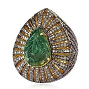 Carved Emerald 925 Sterling Silver Pave Diamond Cocktail Ring Jewelry