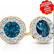 Blue And White Diamond Halo Stud Earrings In 14k Yellow Gold 1.00.ct.tw
