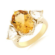 8.13 Ct Oval Citrine And White Topaz 18k Gold Over Sterling Silver Engagement Ring
