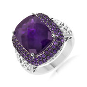 Big Cushion Cut Amethyst Sterling Silver Solitaire Engagement Ring