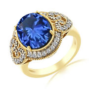 0.28 Ct Oval Blue Star Sapphire White Topaz 18k Gold Over Silver Engagement Ring