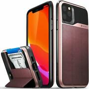 Iphone 11 Pro Max Wallet Case Drop Protection Flip Leather Cover Rose Gold/black