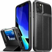 Iphone 11 Pro Max Wallet Case Drop Protection Cover Card Holder Space Gray/black