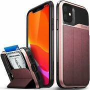 Iphone 11 Wallet Case Extreme Drop Protection Leather Card Holder Rose Gold/red
