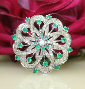1..72ct Natural Round Diamond 14k Solid White Gold Emerald Wedding Brooch Pin