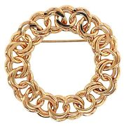 Brooch 14k Yellow Gold Circle Of Double Links Pin - Vintage Estate Jewelry