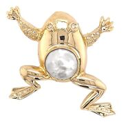 Brooch 14k Yellow Gold Frog Diamond And Mabe Pearl Pin - Fine Estate Jewelry