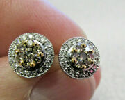 Alwand Vahan Love Collection .80 Ctw Fancy Brown And White Diamond Earrings 14wg