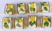 Set Of 8 Vintage England Franciscan Peach Tree Napkin Rings - Yellow Apple Hh