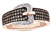 3/8 Ct Champagne And White Natural Diamond Buckle Ring 10k Rose Gold -igi-