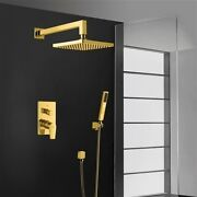 Bravat Elegant Wall Mount Gold Finish Shower Head With Hand-held Shower And Mixer