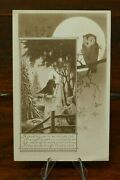 Vintage Halloween Postcard Owl And Moon Inset Witch In Forest Gibson Sepia Mailed