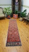 Primitive 1930-1939and039s Antique Wool Pile Henna Dye Bunyan Runner Rug 2and0391andtimes9and0394
