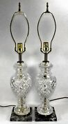 Pair Of Lamps Cut Crystal Fait Main Cristal Dand039albret Table Lamps Marble Bases
