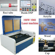 Ruida Dsp 100w 1060 Co2 Laser Engraver Cutting Machine And Reci Tube Rotary Axis