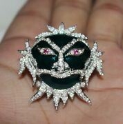 2.14ct Natural Round Diamond 14k Solid White Gold Ruby Enamel Halloween Brooch