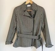 Akris Punto Womens 10 Black And White Belted Houndstooth Puplum Jacket Msrp 1590