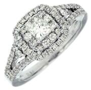 Estate .87ct Diamond 14k White Gold Princess And Round Double Halo Engagement Ring