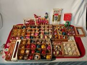 Huge Antique And Vintage Christmas Glass Ornaments Over 120 Pieces In The Set